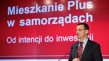 Wicepremier Mateusz Morawiecki podczas konferencji Mieszkanie Plus w samorządach ' Od intencji do inwestycji '