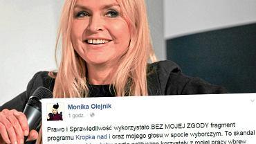 """W spocie PiS fragment """"Kropki nad i"""". Olejnik oburzona: M�j g�os bez mojej zgody, skandal"""