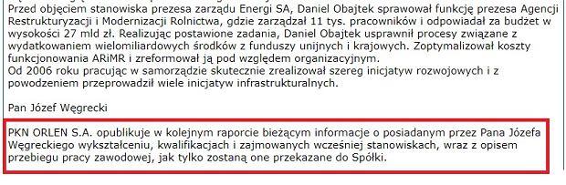 Fragment komunikatu PKN Orlen o zmianach w zarządzie