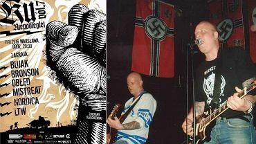 """Plakat koncertu """"Ku Niepodległej"""" a obok zdjęcie jego gwiazdy - zespołu Mistreat"""