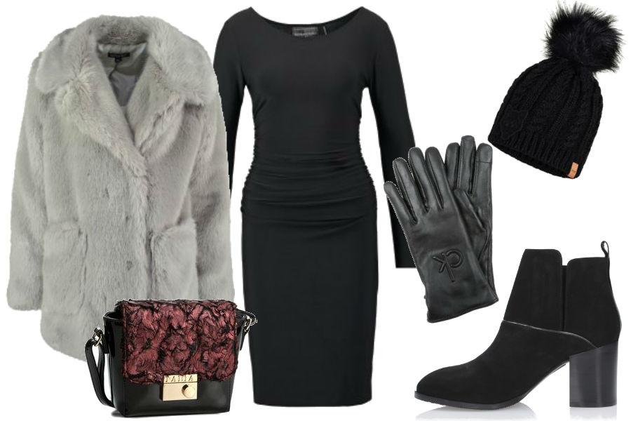 fot. materiały partnera, szare futro, czarna sukienka, czapka z pomponem