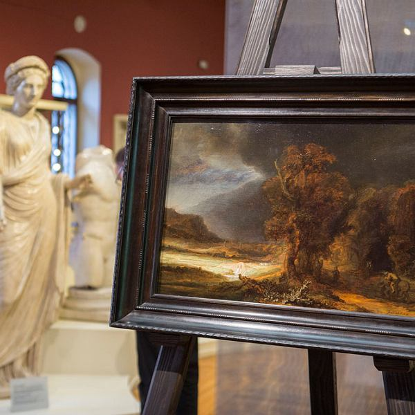 """Pokaz obrazu """"Rembrandt. Krajobraz z miłosiernym Samarytaninem"""""""