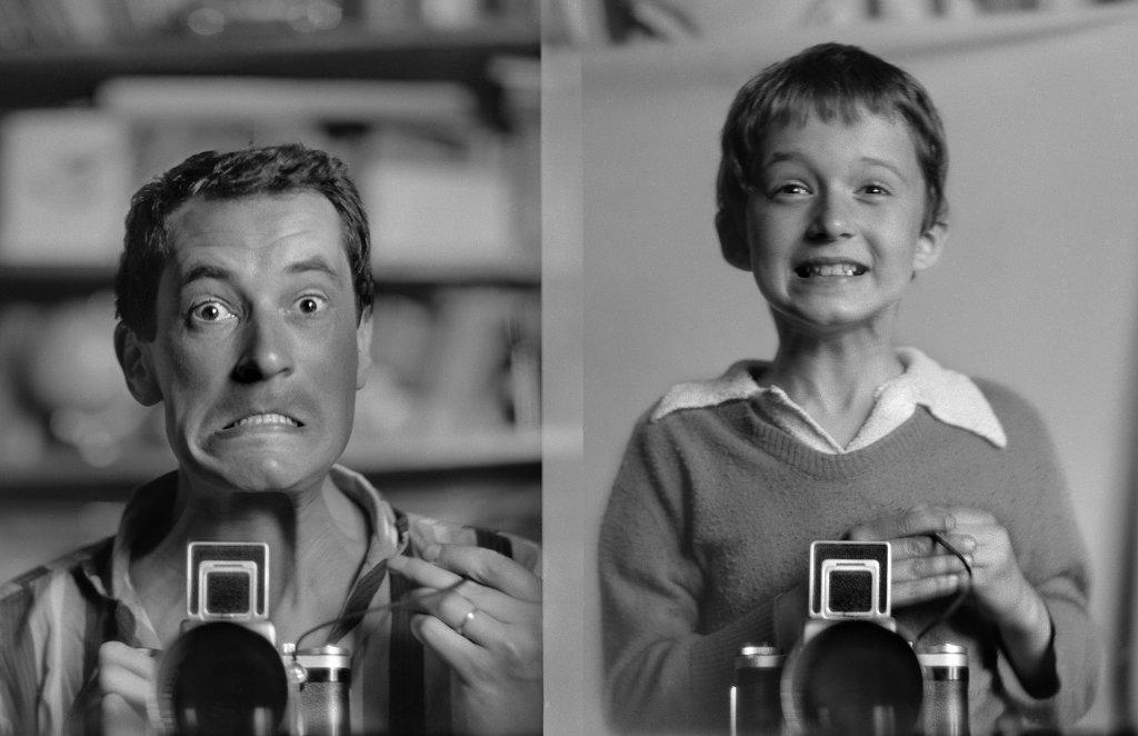 Autoportrety Wojciech i Macieja Plewińskich z 1963 r. (fot. Wojciech Plewiński, Maciej Plewiński)