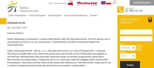 Oświadczenie Kolei Mazowieckich