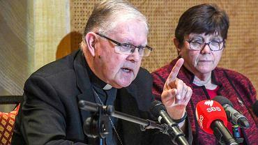 Arcybiskup Mark Coleridge, przewodniczący Konferencji Biskupów Katolickich Australii, podczas konferencji prasowej w odpowiedzi na zalecenia australijskiej, Królewskiej Komisji ds. Seksualnego Wykorzystywania Dzieci.