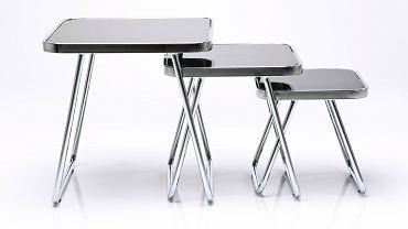 Stolik kawowy Gracile, metal i szkło, najwyższy stolik 50 x 50 cm, wys. 50 cm, cena: 679 zł/3 szt., sfmeble.pl