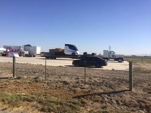 Ciężarówka Tesli na amerykańskiej drodze
