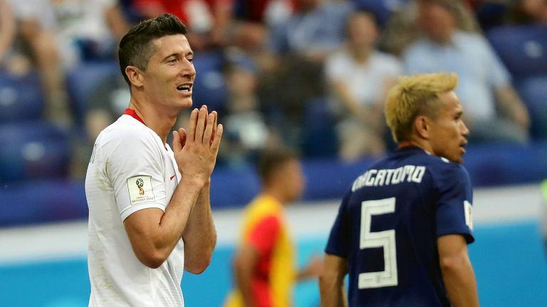 Robert Lewandowski podczas meczu Polska - Japonia