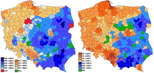 Jak PiS odbiera�o poparcie PO w powiatach [MAPY]