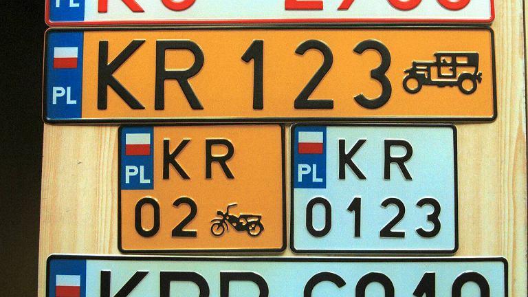 Polskie tablice rejestracyjne.