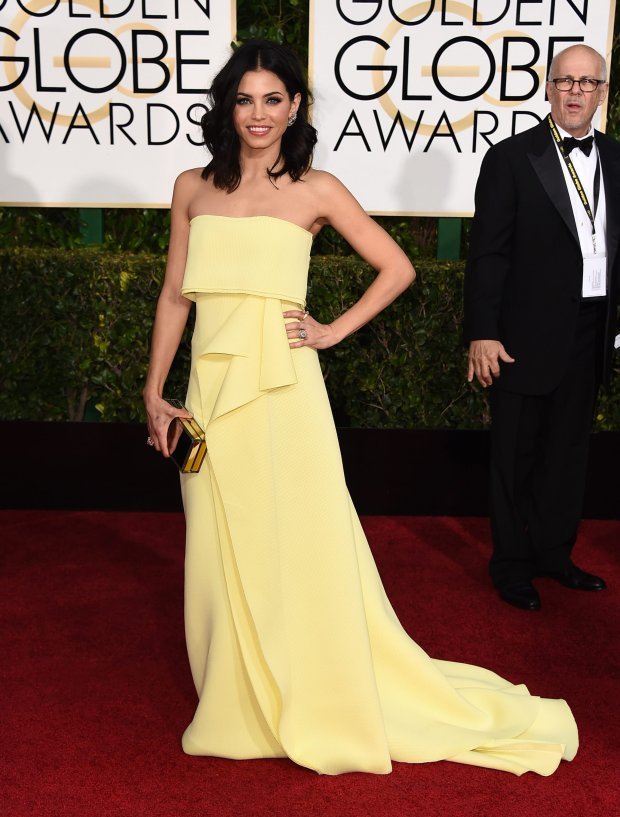 Jenna Dewan Tatum arrives at the 72nd annual Golden Globe Awards at the Beverly Hilton Hotel on Sunday, Jan. 11, 2015, in Beverly Hills, Calif. (Photo by Jordan Strauss/Invision/AP)