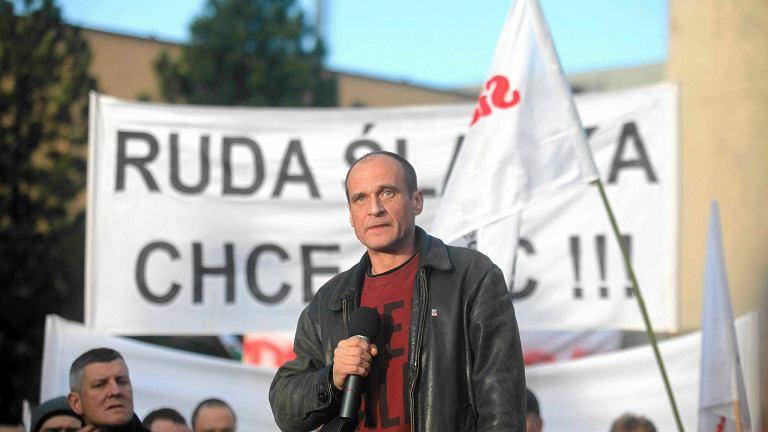 Paweł Kukiz podczas protestu górników w Rudzie Śląskiej