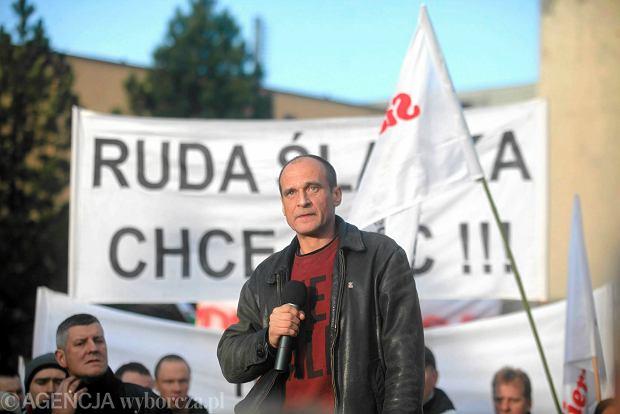 Pawe� Kukiz podczas protestu g�rnik�w w Rudzie �l�skiej