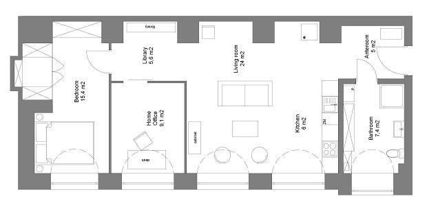Rzut mieszkania. Postindustrialna otwarta przestrzeń została podzielona na cztery wygodne pomieszczenia: salon z aneksem kuchennym, sypialnię, gabinet i łazienkę.