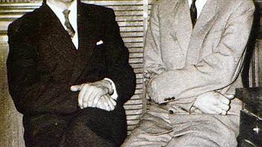 Franciszek Wilk (po lewej) z Janem Zaworą, ojcem Krystyny Lenkowskiej . Francja , Lille , 1959