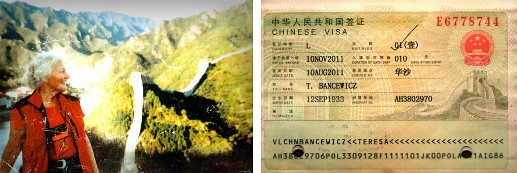 Pani Teresa autostopem pojechała zobaczyć Wielki Mur Chiński. Obok wiza do Chin (fot. archiwum prywatne)