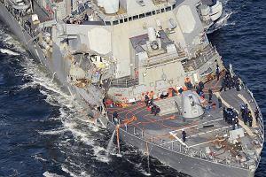 Amerykański niszczyciel poważnie uszkodzony. Wszyscy zaginieni marynarze nie żyją
