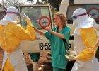 Pracownicy organizacji Lekarze Bez Granic w Gwinei w strojach ochronnych