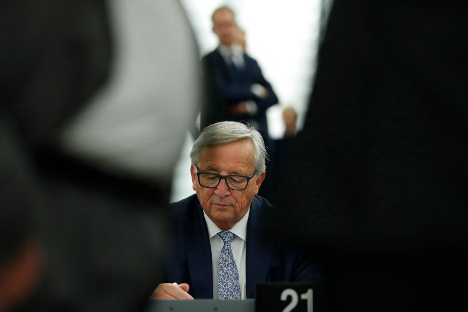 Szef Komisji Europejskiej Jean-Claude Juncker  w Strasburgu, 13 sierpnia 2017 r.