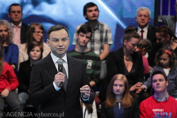 Kandydat na prezydenta Andrzej Duda podczas prezentacji