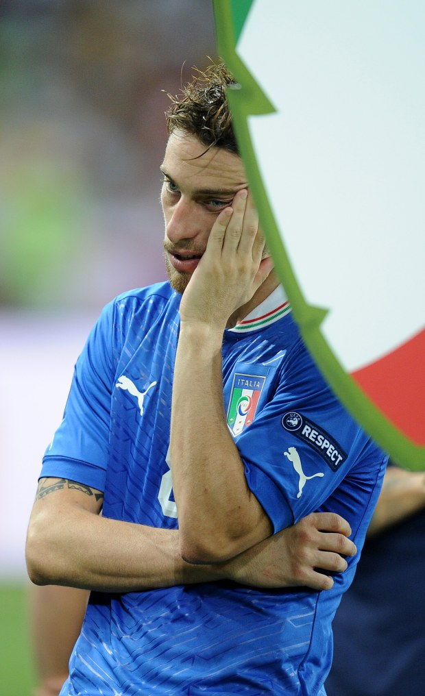 ITAR-TASS: KIEV, UKRAINE. JULY 1, 2012. Italy?s Claudio Marchisio reacts after their lost Euro 2012 final soccer match against Spain (UEFA European Football Championship), at the Olympic Stadium in Kiev. Spain defeated Italy 4 - 0. (Photo ITAR-TASS/ Valery Sharifulin)