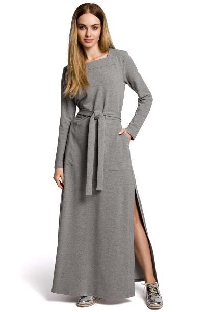c8b0a52521 Szara Sukienka Dresowa Maxi z Dekoltem Caro z Rozcięciem