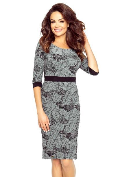 3a32878c4ccf 25-09 Danusia – elegancka sukienka podkreślona paskiem (LIŚCIE CIEMNY )