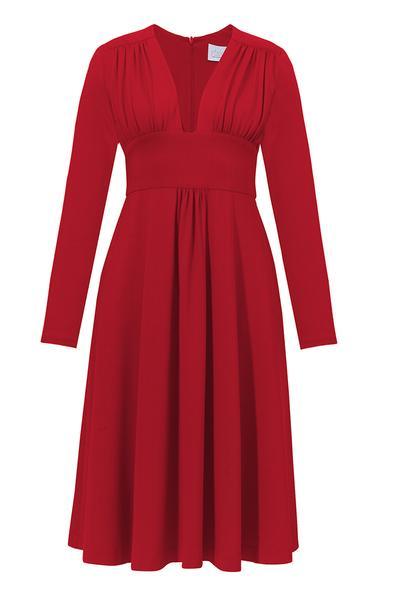 9e577a3804 VESPER MIDI z dłuższymi rękawami czerwona - sukienka -40%