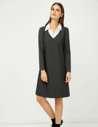 675d8efcf0 Sukienka ciemnoszara z koszulowym kołnierzem