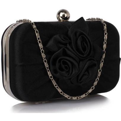 0bf247744a5e8 Czarna torebka wizytowa z kwiatową aplikacją (4419)