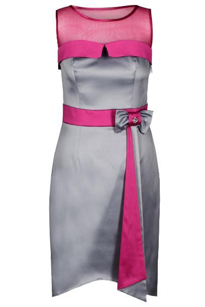 Sukienka FSU224 SZARY JASNY  AMARANTOWY ŚREDNI