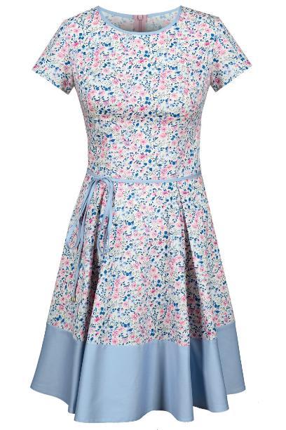 Sukienka FSU671 RÓŻOWY + BŁĘKIT