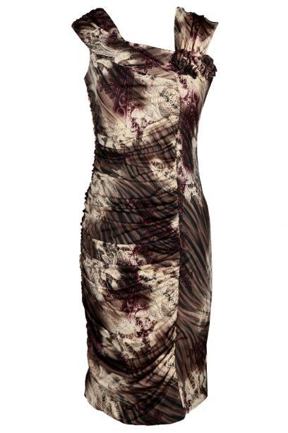 Sukienka FSU198 BEŻOWY CIEMNY  BEŻOWY