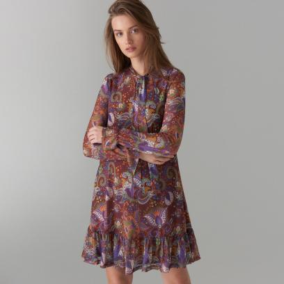 55b08ec766 Mohito - Trapezowa sukienka we wzory - Brązowy