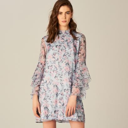 780808dfa9 Mohito - Sukienka w kwiaty z rozkloszowanymi rękawami - Wielobarwn