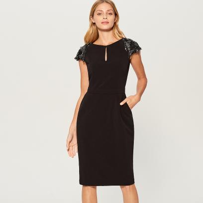 cd5ae566e1 Mohito - Dopasowana sukienka z ozdobnymi rękawami - Czarny