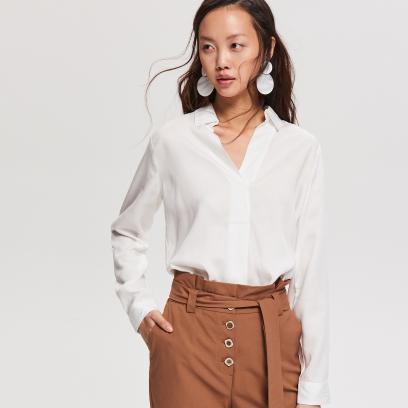 a608acc962 sukienka młodzieżowa na cienkich ramiączkach   kolaż   materiały partnera.  Reserved - Bluzka z Tencelu™ - Biały