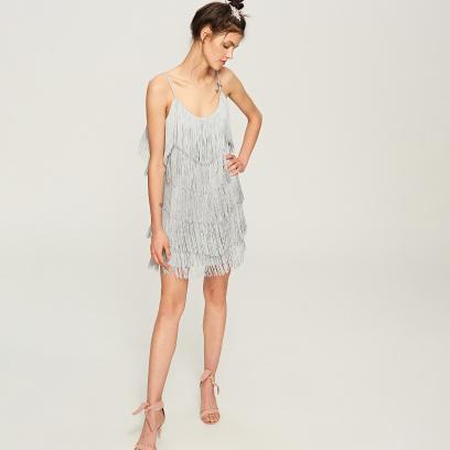 f5488c3a9aa99 Reserved - Sukienka z frędzlami - Wielobarwn
