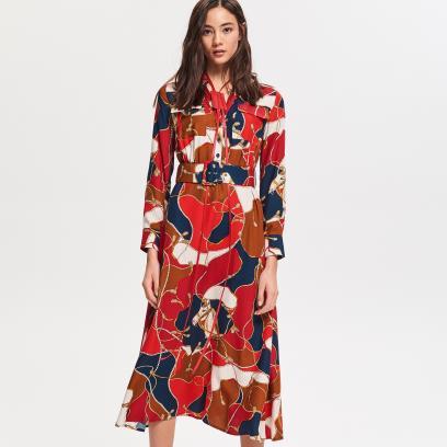 009e4f3ac2 Reserved - Wzorzysta sukienka z wiskozy - Wielobarwn