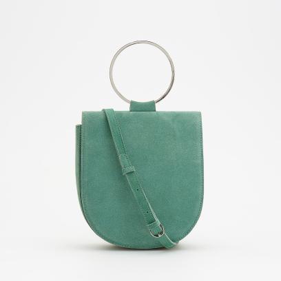 bdfc4eabf5a14 Reserved - Skórzana torebka z okrągłym uchwytem - Zielony