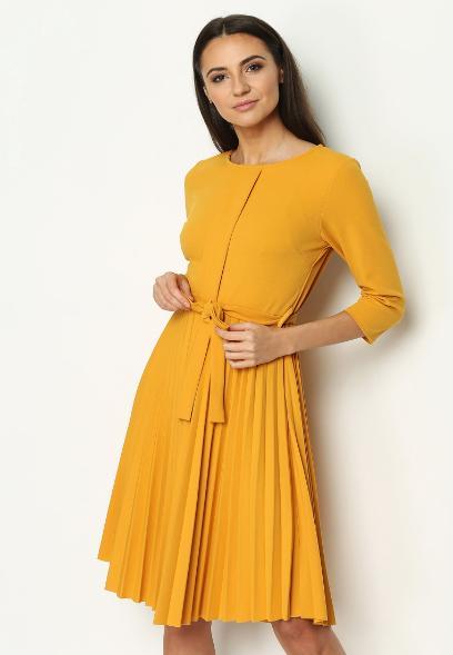 3113d895489ac Żółta Sukienka Pleated Belted
