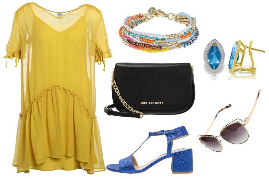Sukienki oversize zółty / mat. partnera
