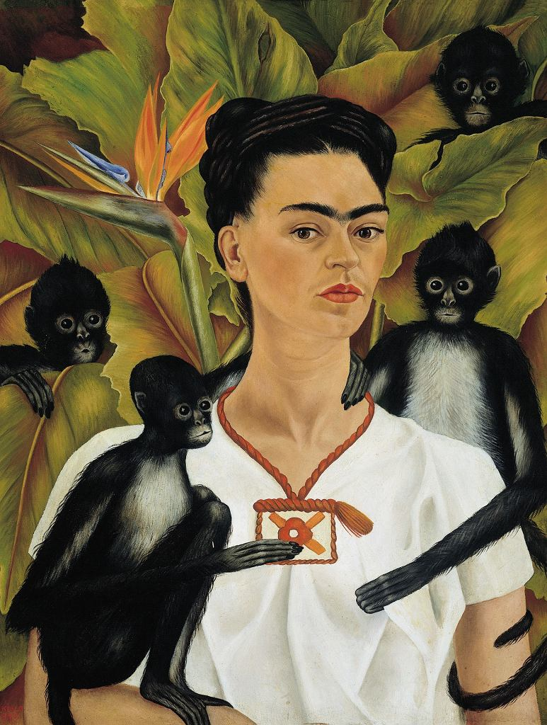 Frida Kahlo, Autoportret z małpami, 1943, The Jacques and Natasha Gelman Collection of Mexican Art, the Vergel Foundation and the Tarpon Trust /  2017 Banco de México Diego Rivera Frida Kahlo Museums Trust, Mexico, D.F. / Artists Rights Society (ARS), New York