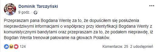 Przeprosiny od Tarczyńskiego