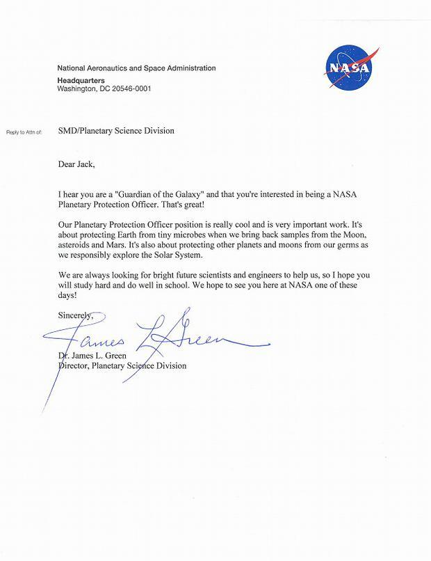 List NASA do dziewięciolatka