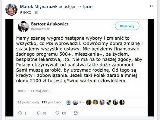 Podrobiony wpis Bartosza Arłukowicza