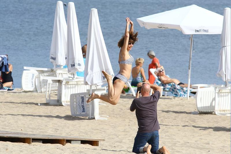 Grażyna Wolszczak na plaży
