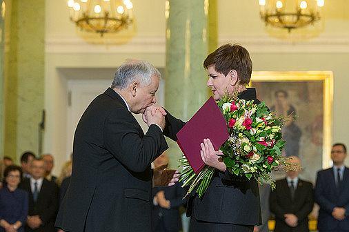 Jarosław Kaczyński podczas desygnowania Beaty Szydło na urząd premiera