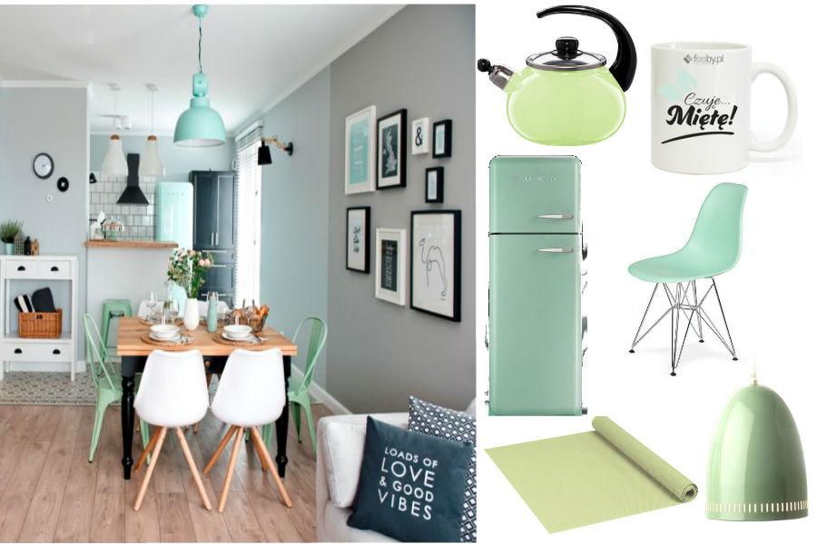 TREND miętowe dodatki  poczuj miętę do swojego wnętrza -> Kuchnia W Kolorze Mietowym