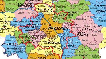 Nowe granice Warszawy po zmianach proponowanych przez PiS